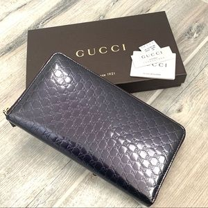 Gucci Purple Patent Leather XL Organizer Wallet